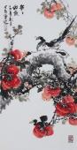 广西美协会员石云轩精品写意三尺竖幅花鸟画《事事如意》