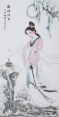 书画协会李孟尧精品写意四尺竖幅人物画《貂蝉拜月》