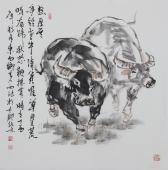 动物画名家杨西沐四尺斗方十二生肖牛图