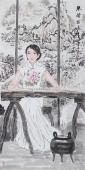 书画协会李孟尧精品写意四尺竖幅人物画《琴声悠远》