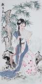 【已售】中国书画协会李孟尧精品写意四尺竖幅人物画《观书图》