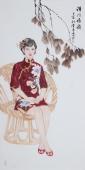 【已售】中国书画协会李孟尧精品写意四尺竖幅人物画《清风雅韵》