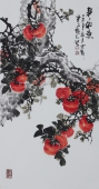 【已售】广西美协会员石云轩精品写意三尺竖幅花鸟画《事事如意》