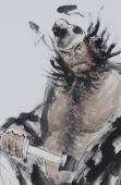 动物画名家杨西沐四尺斗方人物图《钟馗神威图》