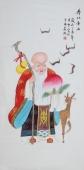 北京美协会员凌雪精品工笔四尺竖幅人物画《寿比南山》