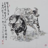 动物画名家杨西沐四尺斗方十二生肖牛图《牛图》