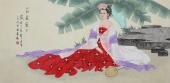 北京美协会员凌雪精品工笔四尺横幅人物画《芭蕉叶下》