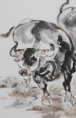 动物画名家杨西沐四尺斗方十二生肖牛图《五牛图》