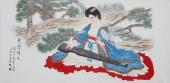 北京美协会员凌雪精品工笔四尺横幅人物画《琴声绵长》