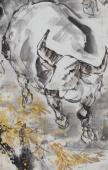 动物画名家杨西沐四尺斗方十二生肖牛图《秋韵》