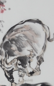 动物画名家杨西沐四尺斗方十二生肖牛图《暖春》