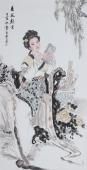 【询价】中国书画协会李孟尧精品写意四尺竖幅人物画《春园观书》