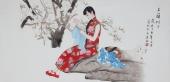 北京美协会员凌雪精品工笔四尺横幅人物画《玉兰树下》