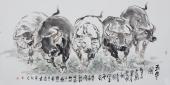 动物画名家杨西沐四尺横幅十二生肖牛图《五牛图》
