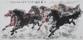 江南画马名家杨主旺四尺横幅八骏图《大展宏图》