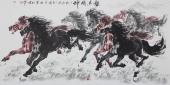【已售】江南画马名家杨主旺四尺横幅八骏图《龙马精神》