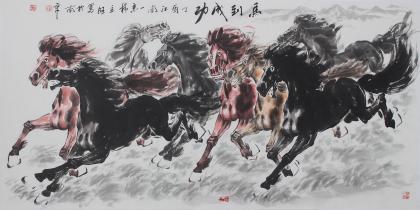 江南画马名家杨主旺四尺横幅八骏图《马到成功》