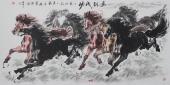 【已售】江南画马名家杨主旺四尺横幅八骏图《马到成功》