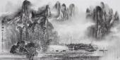 【已售】漓江画派莫桂明 四尺水墨山水《漓江烟雨》