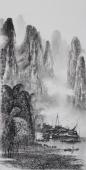 漓江画派莫桂明 三尺水墨山水《坐看群峰云起时》
