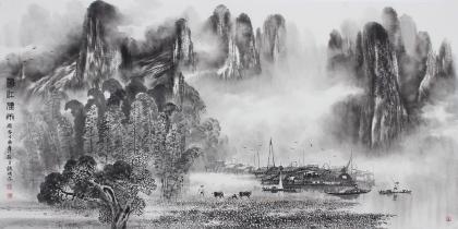 漓江画派莫桂明 四尺水墨山水《漓江烟雨》