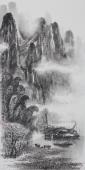 漓江画派莫桂明 三尺水墨山水《与坪云锁半遮峰》