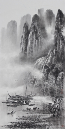 【已售】漓江画派莫桂明 三尺水墨山水《与坪云锁半遮峰》