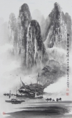漓江画派莫桂明 小尺寸水墨山水《清烟淡雾绕迷蒙》