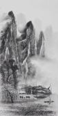 漓江画派莫桂明 三尺水墨山水《群山空蒙雨亦奇》