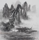 漓江画派莫桂明 斗方水墨山水《万峰叠翠影百里》
