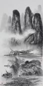 漓江画派莫桂明 三尺水墨山水《清烟淡雾绕迷蒙》