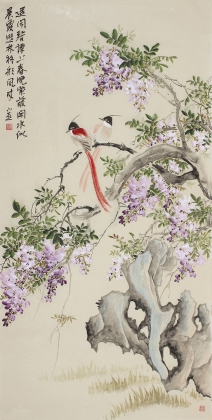 名家皇甫小喜四尺竖幅写意紫藤《紫气东来》