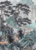 广西美协欧阳四尺横幅写意国画山水《空烟养浮岚》