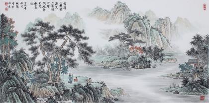 广西美协欧阳四尺横幅写意山水画《秀领千盘翠》