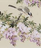 【已售】皇甫小喜四尺对开精品写意花鸟紫藤《紫气东来》