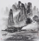山水名家莫桂明 写意山水斗方《兴坪云锁半遮峰》