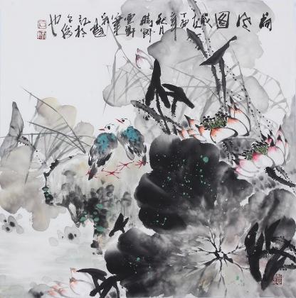 【已售】广西美协石云轩四尺斗方写意荷花《荷风图》