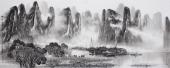 【已售】广西美协莫桂明写意山水画 小六尺横幅《应坪云锁半遮峰》