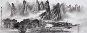 莫桂明精品写意六尺山水《兴坪云锁半遮峰》