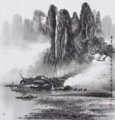 莫桂明四尺斗方写意山水《坐看奇峰云起时》