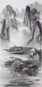 【已售】莫桂明四尺竖幅写意精品山水画《春回江南群峰竞秀》
