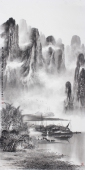【已售】广西美协莫桂明写意精品四尺山水《万峰叠翠影百里》
