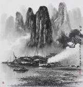 莫桂明写意山水画 斗方《轻烟淡雾绕迷蒙》