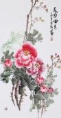 广西美协石云轩三尺竖幅牡丹《花开富贵》