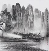 广西美协莫桂明斗方山水画《家家都在画屏中》