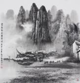 【已售】广西美协莫桂明写意山水画 《家家都在画屏中》