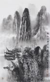 莫桂明精品写意山水画《兴坪云锁半遮峰》