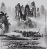 【已售】广西美协莫桂明 精品国画山水《家家都在画屏中》
