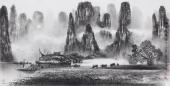 【已售】莫桂明写意三尺精品水墨山水《兴坪佳境》
