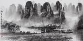 广西美协莫桂明 写意山水三尺横幅《漓江烟雨》